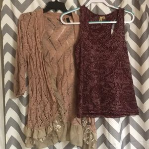 Buckle glittery tank top and cardigan